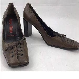 MIU MIU Brown Pumps Shoe Vero Cuoio Leather Italy